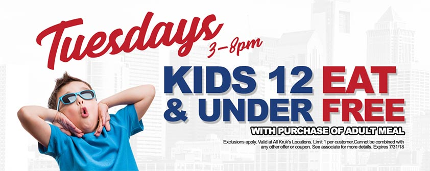 FROM 3PM-8PM, KIDS 12 AND UNDER EAT COMPLETELY FREE WITH THE PURCHASE OF AN ADULT MEAL.